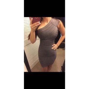 """Herve Leger """"Jessamine"""" dress in grey shadow"""